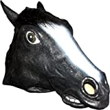 Realistic Black Horse Mask: Full Face Rubber Latex with Faux Fur Costume Mask