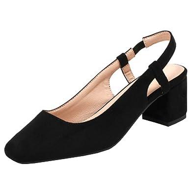 UH Damen Chunky Heels Pumps Knöchelriemchen Sandalen Vorne Geschlossen mit Perlen Square Toe Bequeme Schuhe UWpbFkW