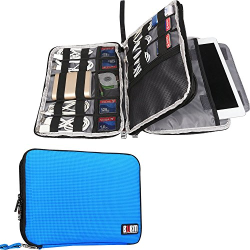 BUBM Double Layer Electronics Organizer - Travel Gadget Bag for Cables - Memory Cards - Flash Hard Drive and More - Fit for iPad or Tablet(up To 9.7