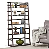 Home Ladder Shelf Bookcase, Four Shelves Solid Wood Construction Dark Tobacco Brown Contemporary Rustic Styling Bookcase 4 Shelves Offer Ample Room for Storage