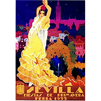 A SLICE IN TIME 1955 Sevilla Seville Spain Europe European Vintage Travel Advertisement Art Collectible Wall Decor Poster Print. Measures 10 x 13.5 inches
