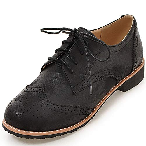 DoraTasia Women's Perforated Block Heel Lace-up Wingtip Leather Flat Oxfords Vintage Brogues Heel Dress Shoes