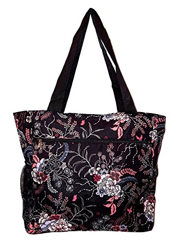 Floral Print Beach Bag - Large Multi - Pocket Fashion Zipper Top Organizing Beach Bag Tote - Custom Embroidery Available (Floral Bouquet Print)