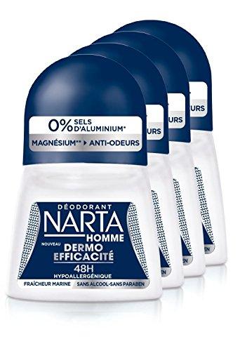 NARTA Homme Dermo-Efficacité 48H Déodorant à Bille 50 ml - Lot de 4 D3348600