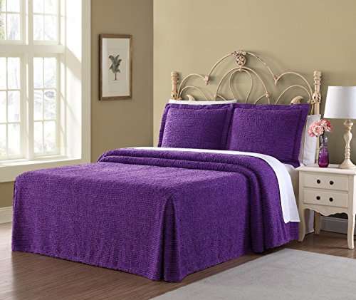 Ellison Richland Chenille Solid, Queen, Purple Bedspread