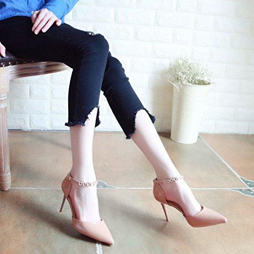 Xue Qiqi Pumps für Wasser Wasser Wasser Bohren Feine Frauen Schuhe mit Hohen Absätzen Tipp Licht - Schuhe die Einzigen Schuhe Weiblich 34 Schlitz Beige ab589b