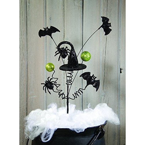OWI Floral Wreath Supplies - Halloween Spray Large Glitter Hats and Bats 3pc. ()