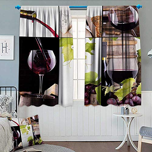 Anhounine Wine,Blackout Curtain,Wine Collage with Barrel Bottle Wineglass Grape Gourmet Taste Beverage,Customized Curtains,Burgundy Pale Green White,W72 x L96 inch (Butler Grape Wine)