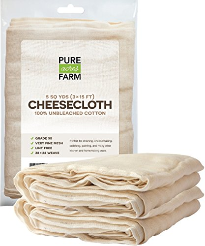 Cheesecloth - 45 Sq Feet: Grade 50-100% Unbleached Cotton - Filter - Strain - Reusable (5 Yards, 50 Weight) by Pure Acres Farm
