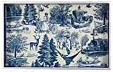 Decorative Wood Serving/vanity Tray W/handles 12.6'' X 7.8'' Country Harvest Indigo, Farmers, Blue & White Toile Pattern, Holiday Celebration, Classic Vintage 1.5'' High Decoupage Home Accent
