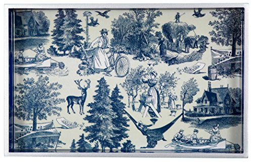 Decorative Wood Serving/vanity Tray W/handles 12.6'' X 7.8'' Country Harvest Indigo, Farmers, Blue & White Toile Pattern, Holiday Celebration, Classic Vintage 1.5'' High Decoupage Home Accent by TSC Giftables
