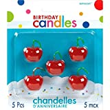 """Toys : Party Time Molded Cherries Birthday Candles, Pack of 5, Red, 1"""" Wax"""