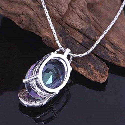18K Platine Collier Cristal Autrichien arc-en-ciel Gouttes argent