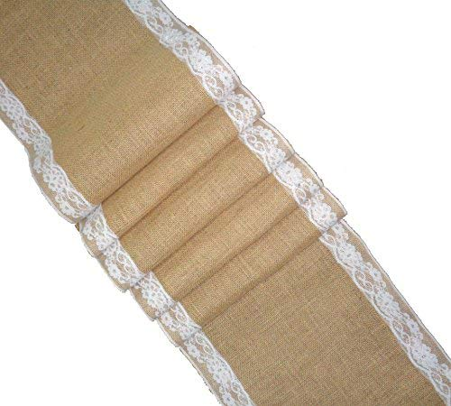Cotton Craft - 2 Pack - Jute Burlap with Lace Table Runner - 12 in. x 108 in. Each - 6 Yards Total - Rustic Hessian - Overlocked Edges - for Weddings, Home Décor & Crafts