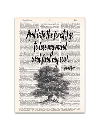 Into the Forest, John Muir Nature Quote, Dictionary Page Art Print, 8x11 inches, Unframed