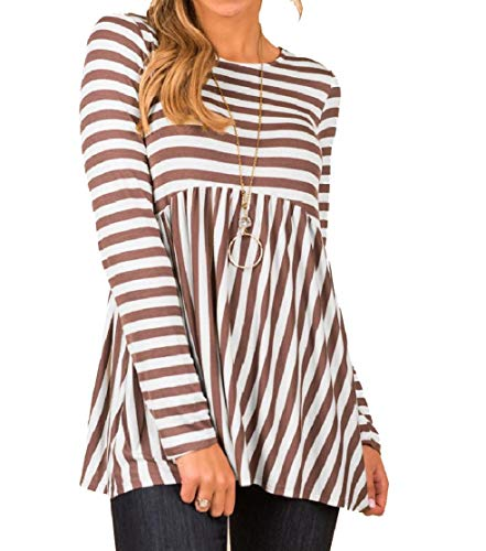 ColourfulWomen Long Sleeve Baggy Striped Crewneck Sweatshirt Dress 1 L