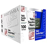 Kaneyama Yaki Sushi Nori / Dried Seaweed (Vacuum-packed/re-sealable), Premium Gold Blue (Half Size 100 Sheets 10 Packs)