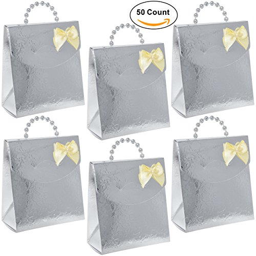 50 Silver Favor Bag Boxes Craft Kit with Pearl Bead Handles Flower Design Guest Candy Goodie Treat Bags Party Supplies Decorations for Holiday Wedding Reception Birthday Celebration Baby Bridal Shower (Bridal Shower Goodie Bags)