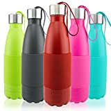 Thermo Tank Insulated Stainless Steel Water Bottle – Ice Cold 36 Hours! Vacuum + Copper Technology – Carry Loop Lid, Silicone Grip – 17 Ounce (Deep Red, 17oz)