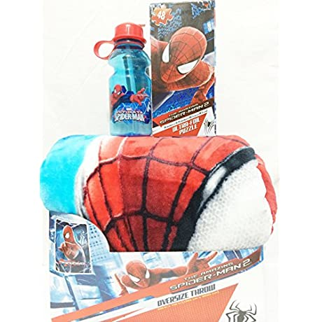 Spiderman Collection Oversize Throw 48pc Ultra Foil Puzzle Drinking Bottle Set