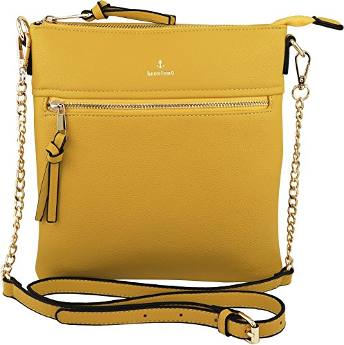 Vegan Double-Zipper Crossbody Bag with Chain Strap (Yellow) -