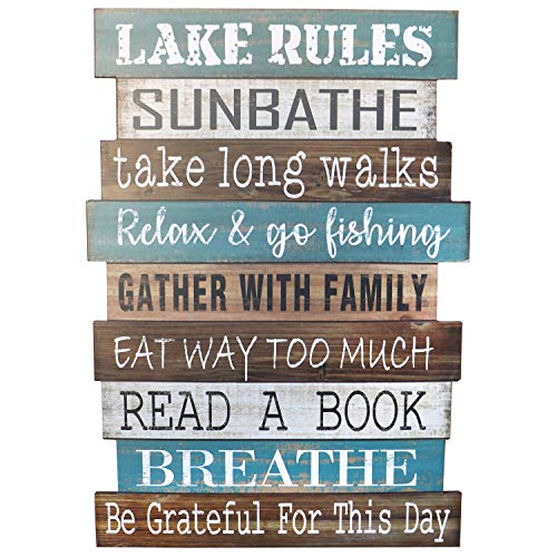 Barnyard Designs Lake Rules Wooden Sign Rustic Vintage Primitive Lake House Home Decor Sign 20