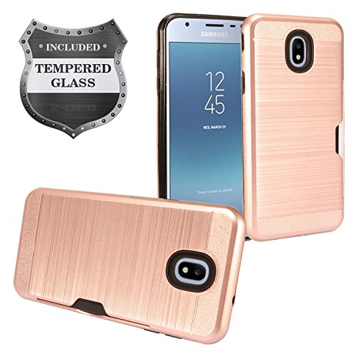 - Z-GEN - Galaxy J3 2018 J3 Star/Achieve/Aura/Orbit, Sol3, Express Prime 3, Amp Prime 3, J3 V J3V 3rd Gen J337 - Hybrid Case w/Card Slot for Samsung + Tempered Glass Screen Protector - CS1 Rosegold