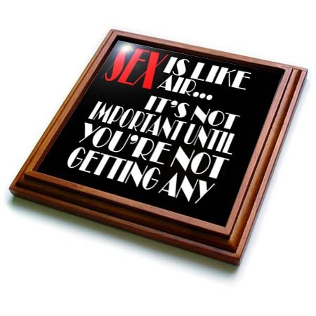 3dRose RinaPiro Sex Sayings - Sex is like air. its not important until youre not getting any. - 8x8 Trivet with 6x6 ceramic tile (trv_272749_1) by 3dRose