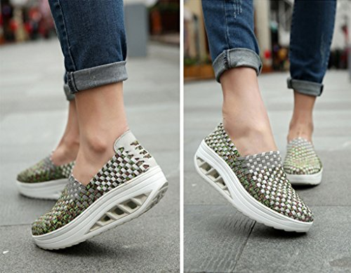 GFONE Women's Wedge Platform Loafers Woven Elastic Trainers Walking Hiking Sneakers Casual Shoes Slip On Grey2 jk2HYHd