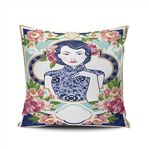 Fanaing Blue and White Chinese Lady in Retro Style with Floral Pillowcase Home Sofa Decorative 18X18 Inch Square Throw Pillow Case Decor Cushion Covers Double Sided Printed