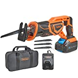 VonHaus 20V MAX Lithium-Ion Cordless Reciprocating Saw Kit with 4x Wood Blades and 1' Stroke Length For Wood & Metal Cutting - Includes 3.0Ah Battery, Smart Charger, and Power Tool Bag