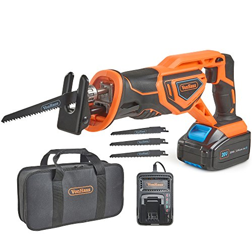 "Cordless Lithium Ion Sawzall - VonHaus 20V MAX Lithium-Ion Cordless Reciprocating Saw Kit with 4x Wood Blades and 1"" Stroke Length For Wood & Metal Cutting - Includes 3.0Ah Battery, Smart Charger, and Power Tool Bag"