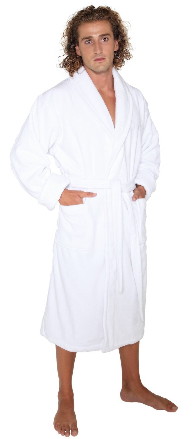 Arus Men's Deluxe Terry Cloth Turkish Cotton Bathrobe Robe, M, White