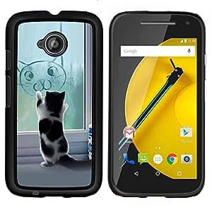 YiPhone /// Prima de resorte delgada de la cubierta del caso de Shell Armor - Gatito lindo divertido del gato - Motorola Moto E2 E2nd Gen