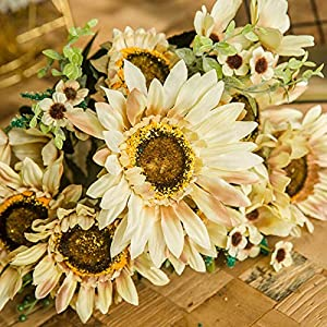 WDDH Sunflowers Silk Artificial Flowers,Artificial Sunflowers Fake Flowers Bouquets for Home Hotel Office Wedding Party Garden Decor,Valentine´s Day,Mother's Day 89