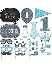 20pcs/set Blue 1st Birthday Boy Photo Booth Props on A Stick DIY Kits Photobooth Fun to be One Party Decoration Favour Gifts Centerpieces
