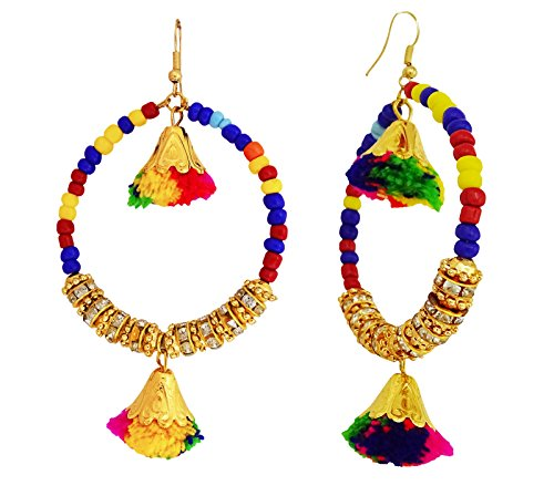 Ghoomar Indian Women Designer Multicolor Beads Earring With Pom Pom Gift For Her - Link Multi Colored Earrings