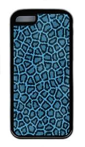 iPhone 5C Case Cover - Leopard Hide Blue Cool Design TPU Silicone Rubber Case for Apple iPhone 5C - Black