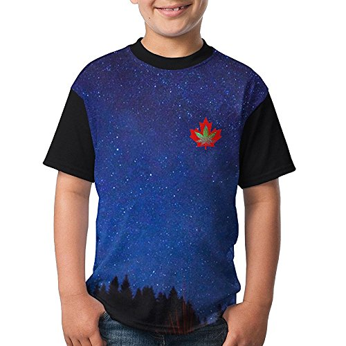 Discount Canadian Maple Leaf Girls Printing Sleeve T-Shirt