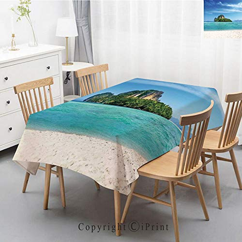 Print Series Rectangle Tablecloth Cotton and Linen Dust proof Absorption Table Cover for Photography Background Dining,55x79 Inch,Island,Poda Island in Thailand Lagoon Limestone Sunshine Surfing Coast