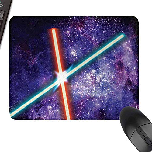 HMdy88PT Galaxy Two Crossed Swords Futuristic Battle Fantastic Galaxy Wars Themed Print Hard Mouse paddesk W12 x27.5 Red Blue Black
