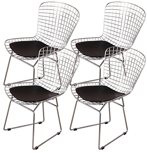 MLF Harry Bertoia Wire Side Chair (Set of 4). Chromed Wire Frame with Plastic Feet & PU Leather Cushion. (Black) (Cushions Nook Breakfast Sale)