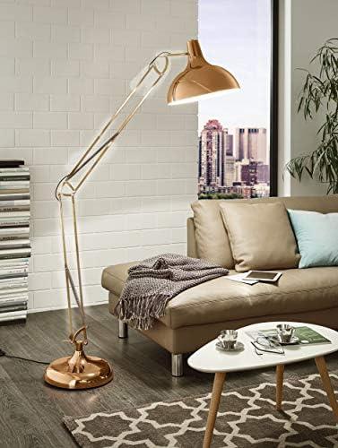 EGLO Stehlampe Borgillio, 1 flammige Vintage Standleuchte im Industrial Design, Stehleuchte aus Stahl, Farbe: Kupfer, Fassung: E27, inkl. Trittschalter