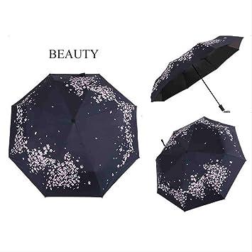QNBD Portátil Flor Blanca Pintura Paraguas Plegable Elegante ...