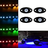 TUINCYN 4 pods Car RGB LED Rock Lights Kit APP Bluetooth Control Underbody Waterproof Trail Rig Neon Lights for Jeep Off Road Trucks Car ATV SUV Vehicle Boat