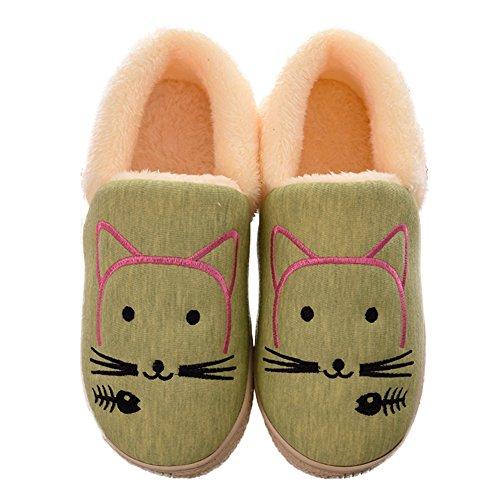 Ciabattina Delle Donne Del Fumetto Sveglio Pantofola Caldo Lanoso All'aperto Scarpe Da Esterno Antiscivolo Verde Brillante