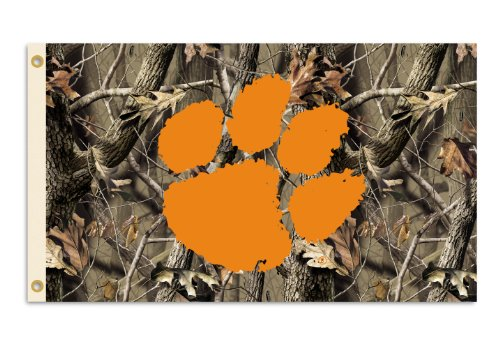 NCAA Clemson Tigers 3-by-5 Foot Flag with Grommets - Realtree Camo Background