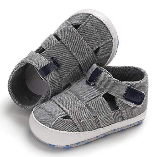 BENHERO Infant Baby Boys Girls Sandals Soft Sole Non Slip Toddler Prewalker Crib Summer Outdoor Walking Shoes,12-18 Months M US Infant,G-Grey