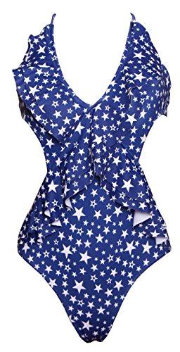 American National Flag Ruffle One Piece Halter Sexy Polka Dot High Cut Swimsuit