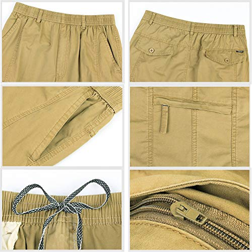 Con Lavoro Festivo Pantaloni Elasticizzati Abbigliamento Multiple In Tasche Pantaloncini Cotone Khaki Uomo Cargo Da qT4HvY